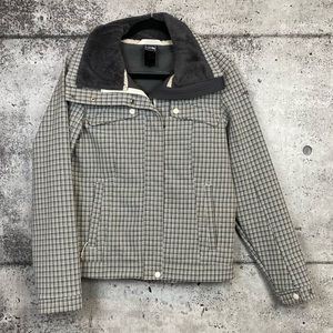The North Face // Grey Plaid Print Jacket